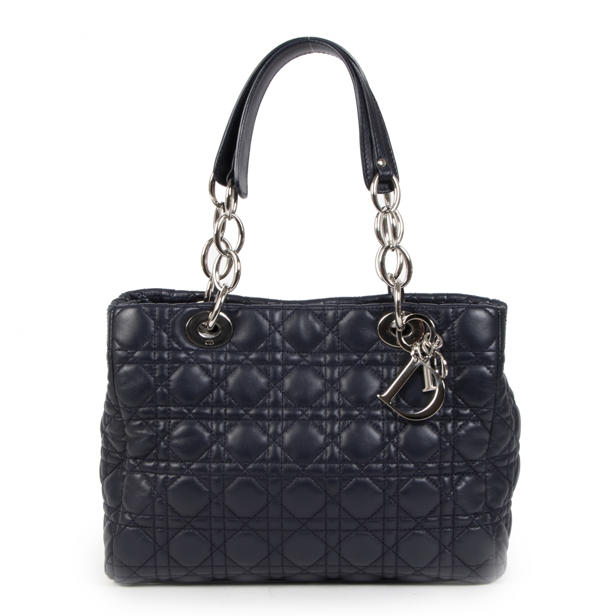Dior Dior Soft Shopping Handtasche in  Blau Leder