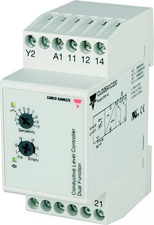 Carlo Gavazzi Conductive DIN Rail Mounting Level Sensor DPDT Relay Output