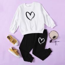 Toddler Girls Heart Print Sweatshirt & Sweatpants
