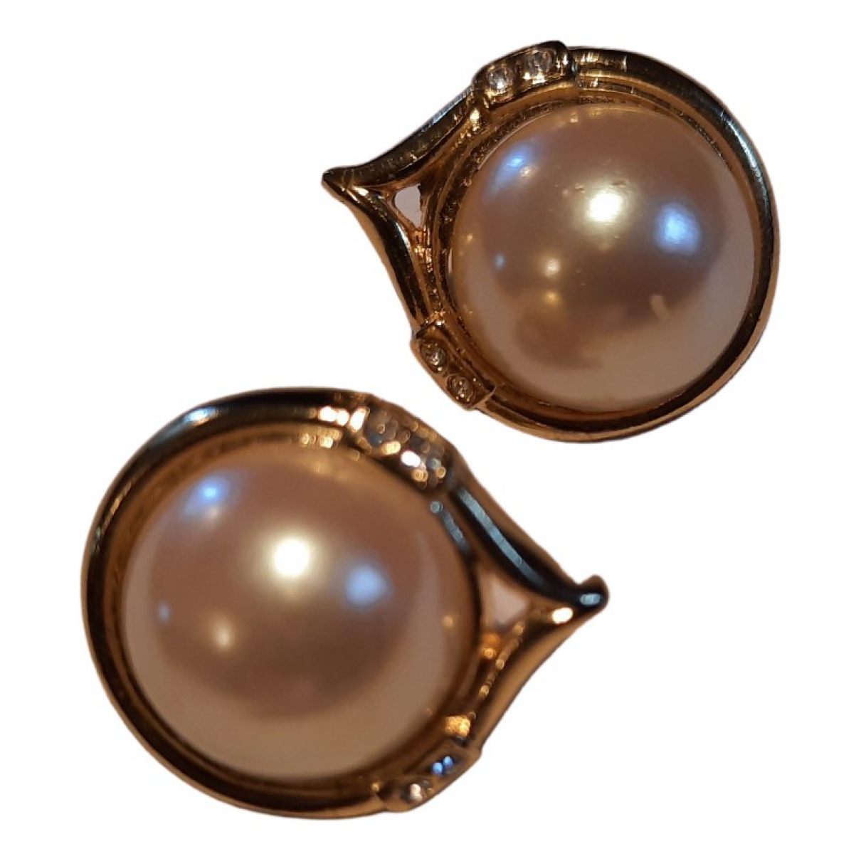 Non Signé / Unsigned Rubis Gold Pearls Earrings for Women N