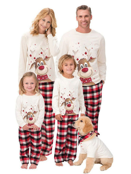Milanoo Christmas Family Pajamas Set White Cotton Blend Christmas Pattern Holidays Costumes Homewear