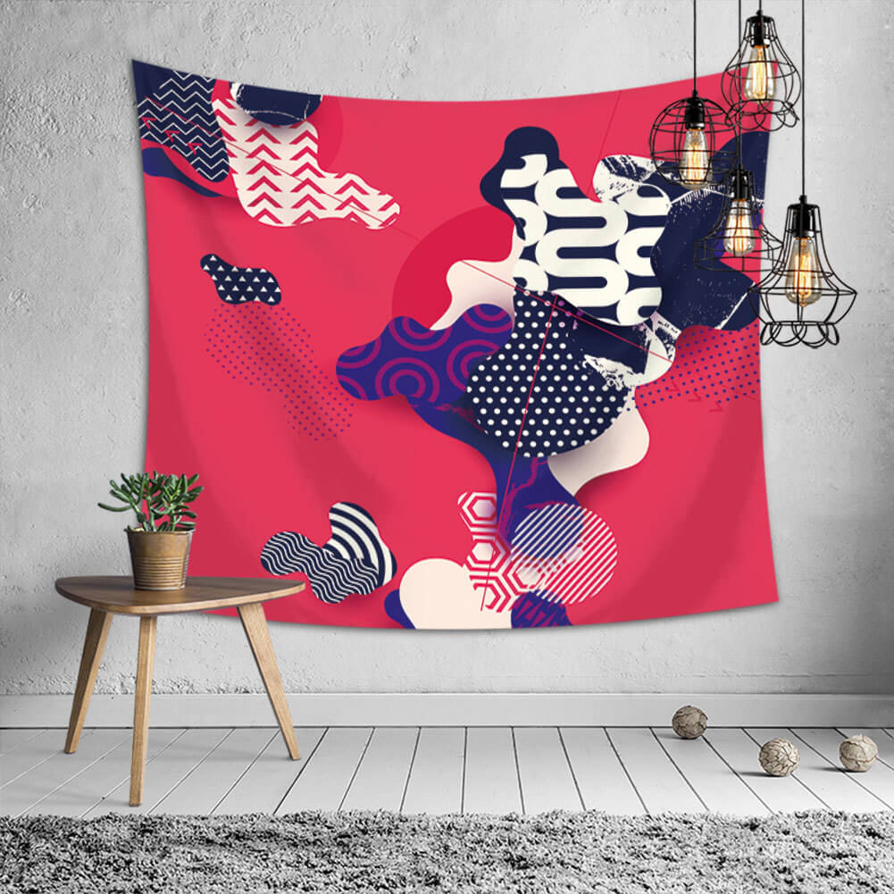 LW Lovely Chic Print Red Decorative Wall Cloth