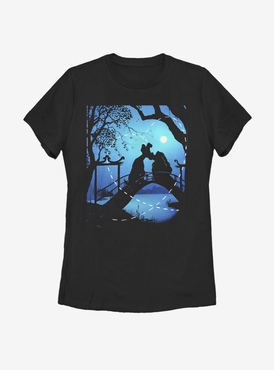 Disney Lady And The Tramp Silhouette Love Womens T-Shirt