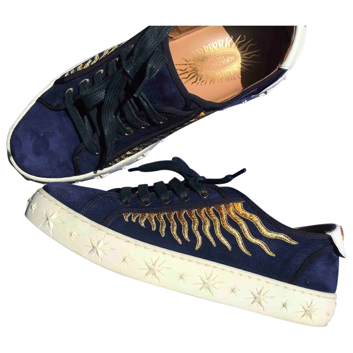 Aquazzura \N Blue Leather Trainers for Women 37 EU