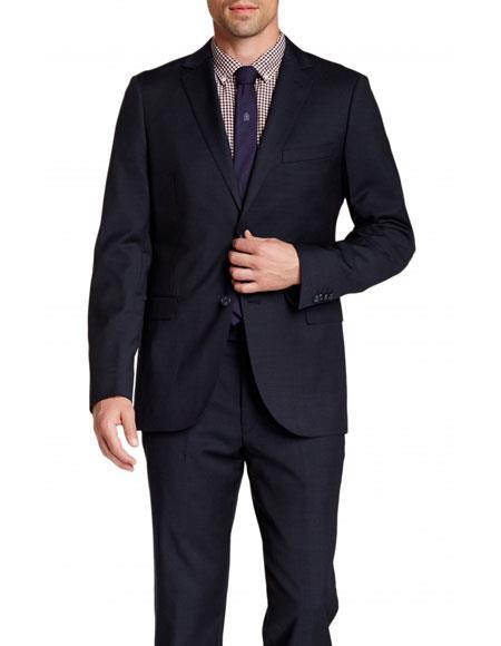 Mens Navy Pindot Slim Fit 2 Buttons Wool Notch Lapel Suit