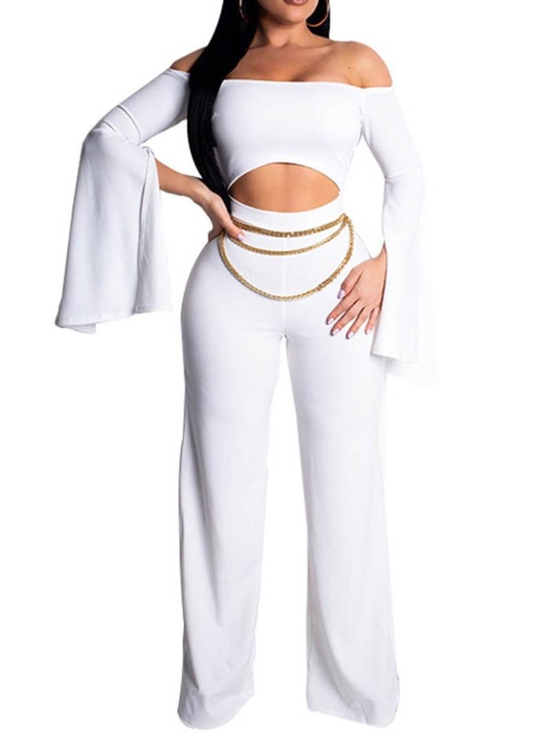 Ericdress Off Shoulder Split Plain Crop Top Zipper Jumpsuit