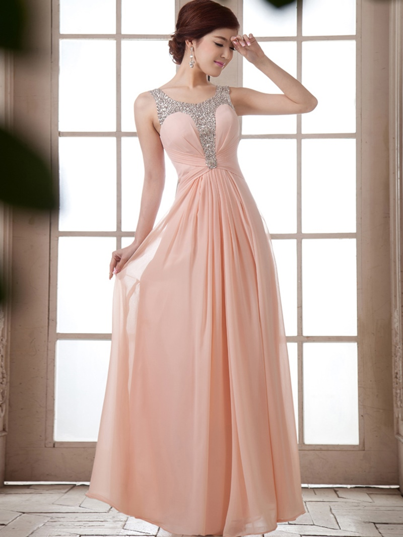 A-Line Scoop Straps Beading Bridesmaid Dress