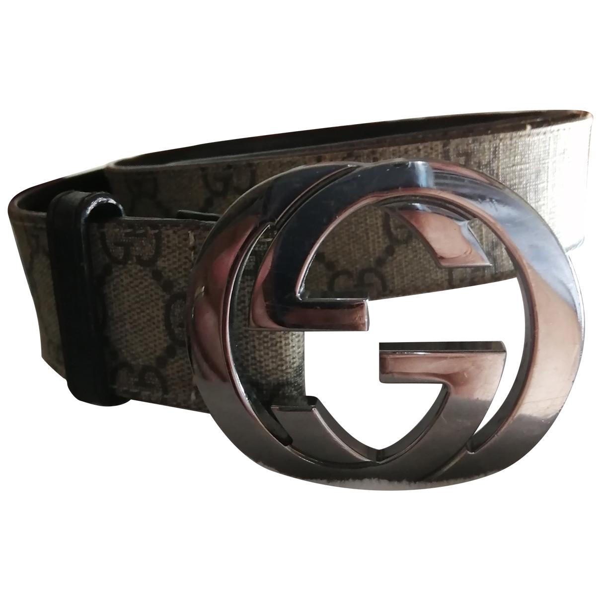 Gucci Interlocking Buckle Guertel in  Beige Leinen