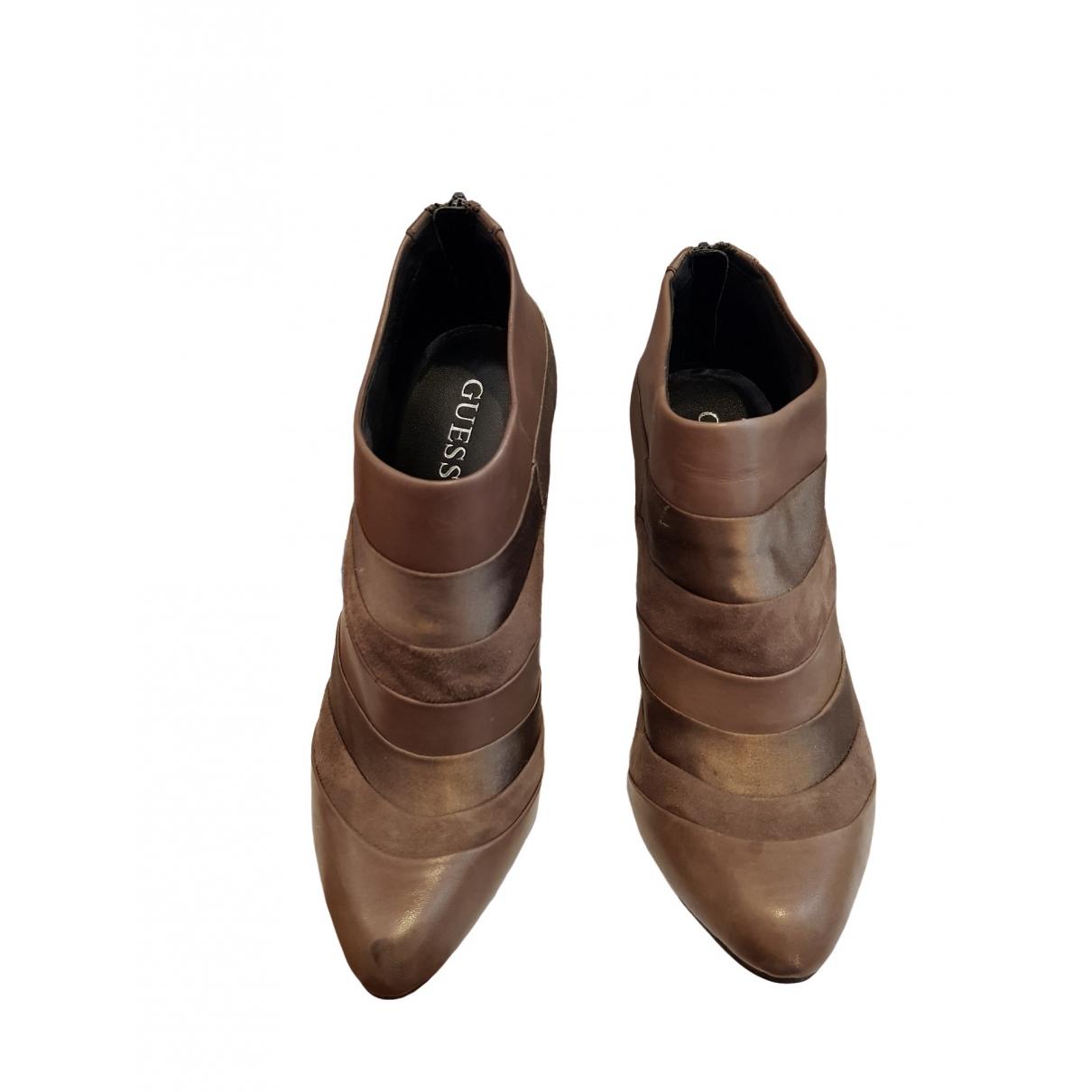 Guess - Bottes   pour femme en cuir - marron