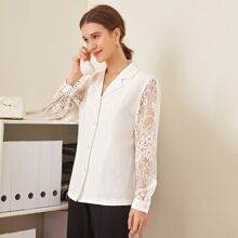 Sheer Lace Sleeve Button Front Lapel Collar Blouse