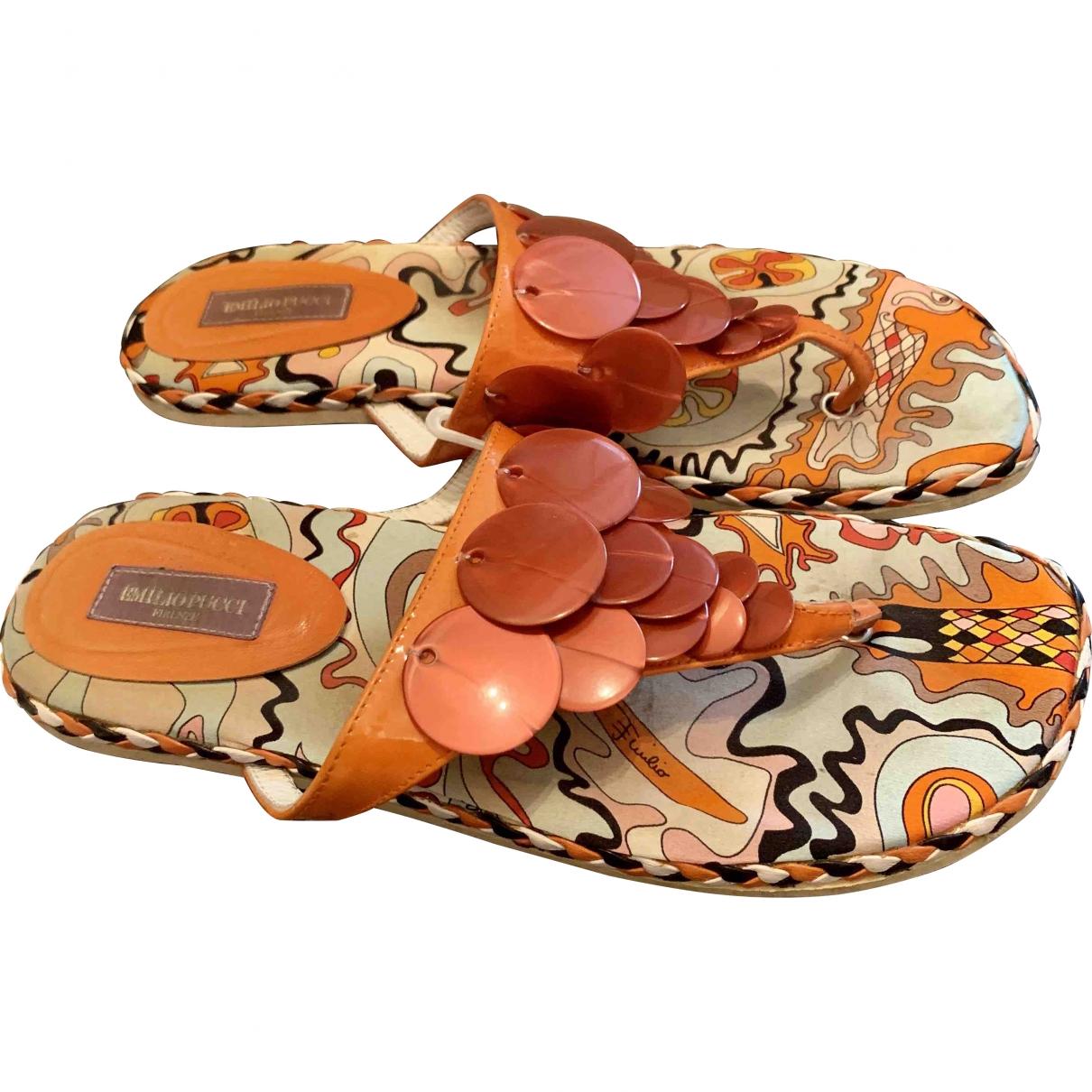 Emilio Pucci \N Orange Cloth Sandals for Women 37 EU