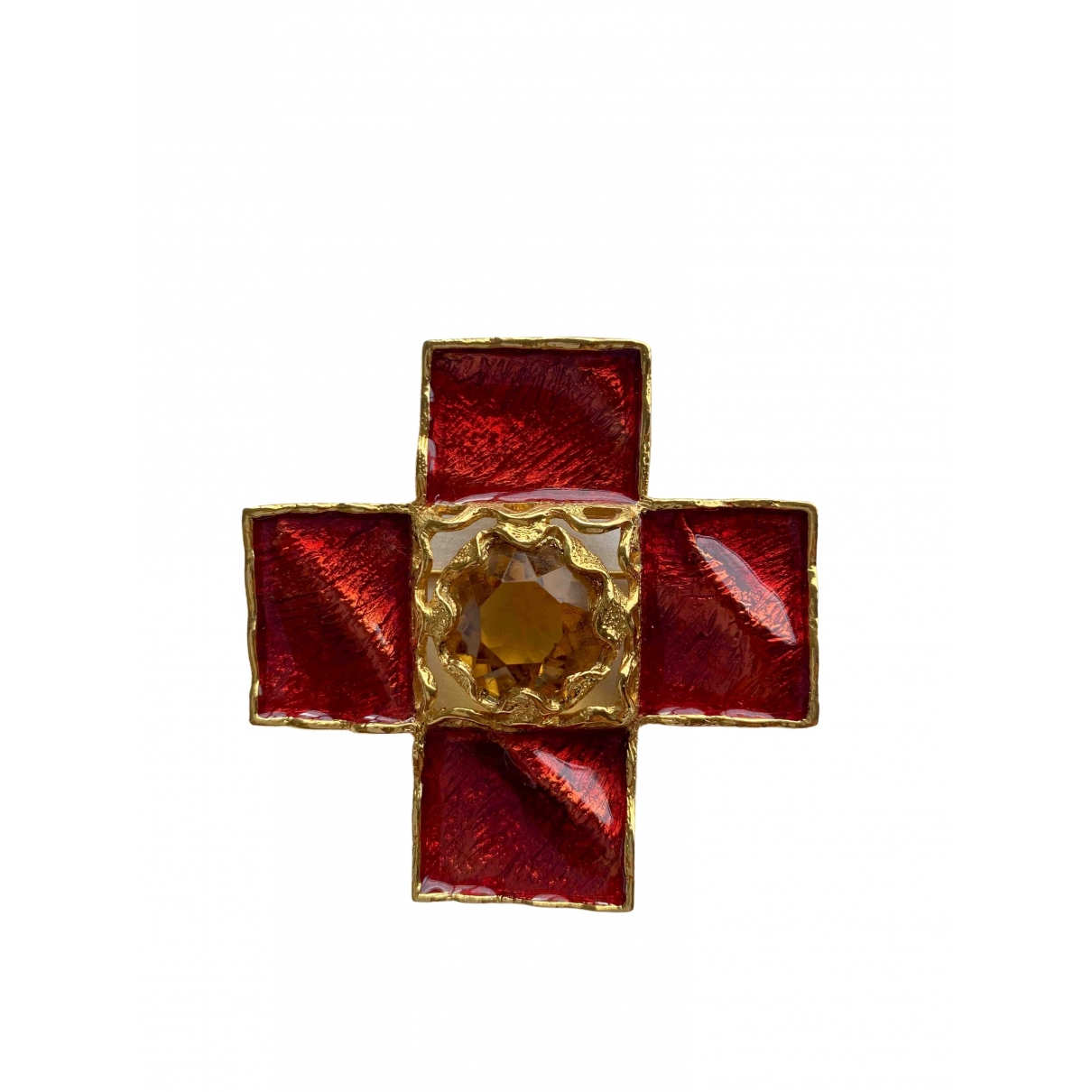 Yves Saint Laurent - Broche   pour femme en or et acier - rouge