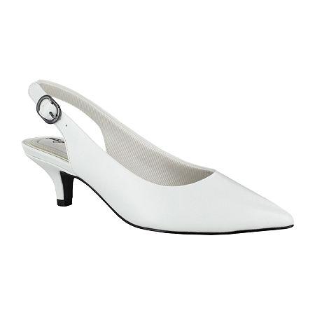 Easy Street Womens Faye Pumps Kitten Heel, 6 1/2 Medium, White