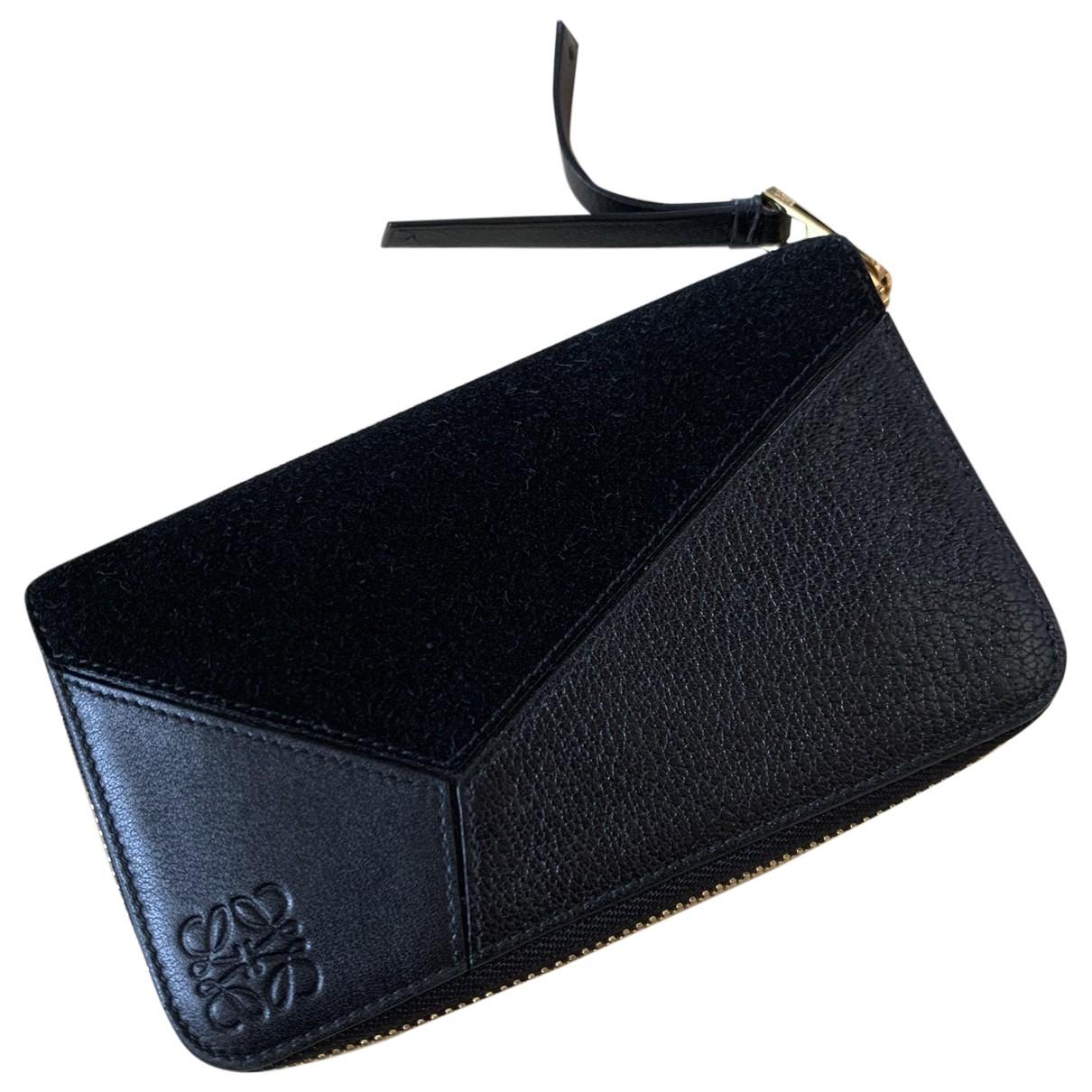 Loewe - Portefeuille Puzzle pour femme en cuir - noir