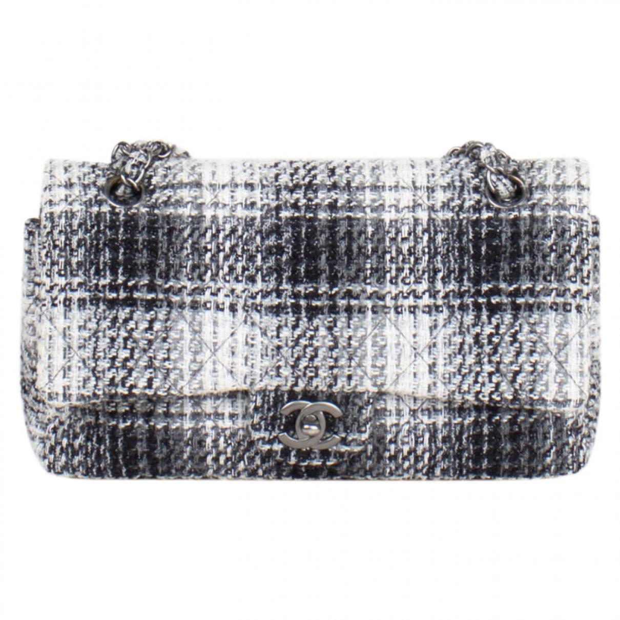 Chanel Timeless/Classique Handtasche in  Schwarz Tweed