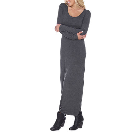 White Mark Ria Long Sleeve Maxi Dress, X-large , Gray