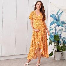 Maternity Kleid mit Wickel Design, Raffungsaum und Blumen Muster