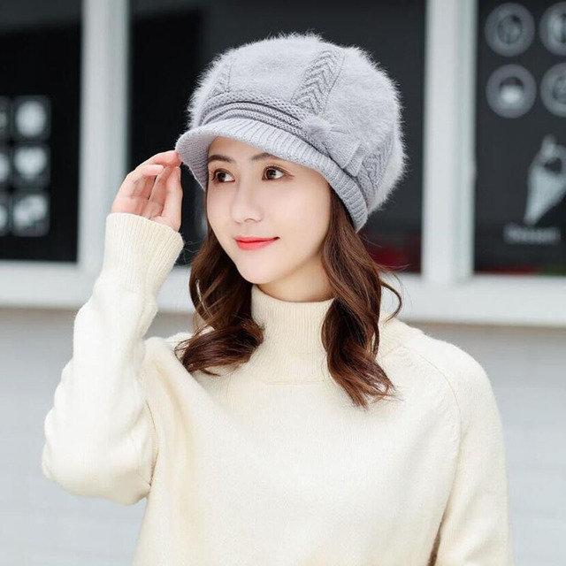 Women's Thick Warm Earmuffs Knit Hat Beret Fur Cap Beret Skullies Crochet Bonnet