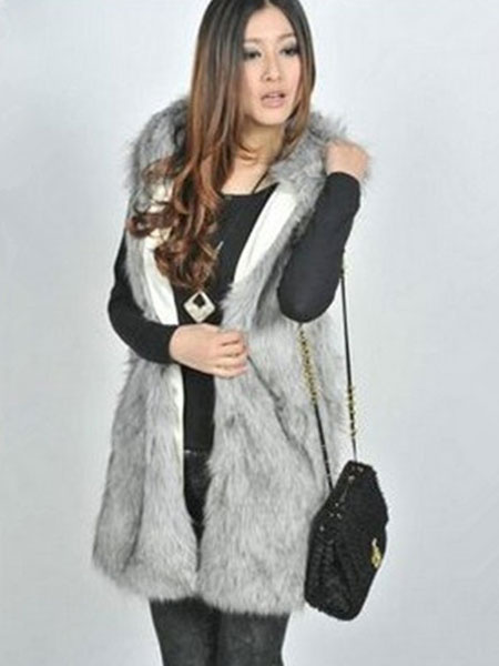Milanoo Faux Fur Vest Black Hooded Sleeveless Women's Winter Coat