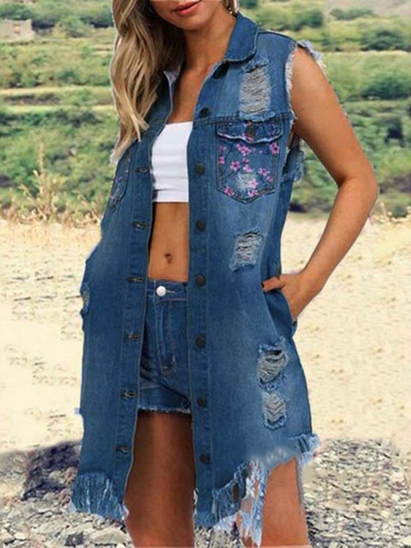 Ericdress Single-Breasted Slim Sleeveless Mid-Length Lapel Jacket