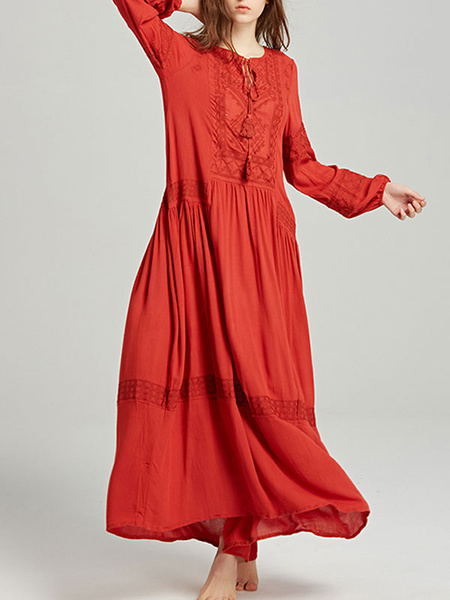 Milanoo Boho Dress Embroidered Jewel Neck Long Sleeves Summer Dress