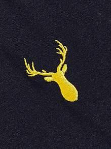 Men Deer Embroidered Colorblock Tee