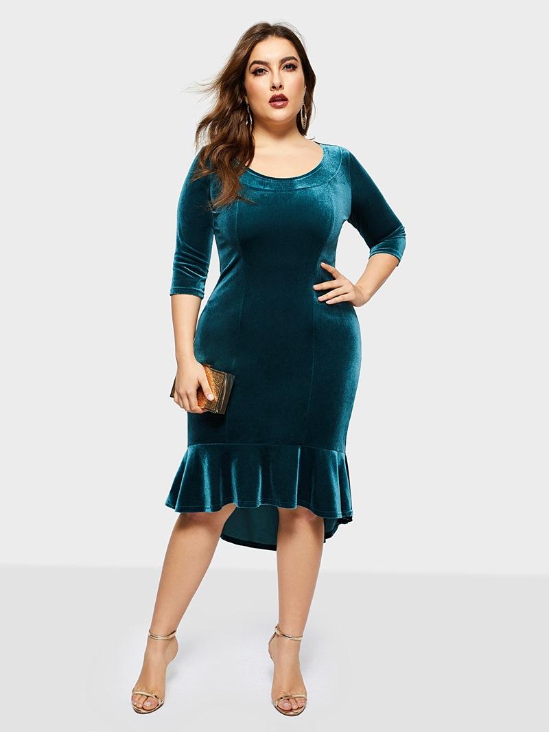 Ericdress Asymmetric Mid-Calf Plus Size Plain Pullover Dress