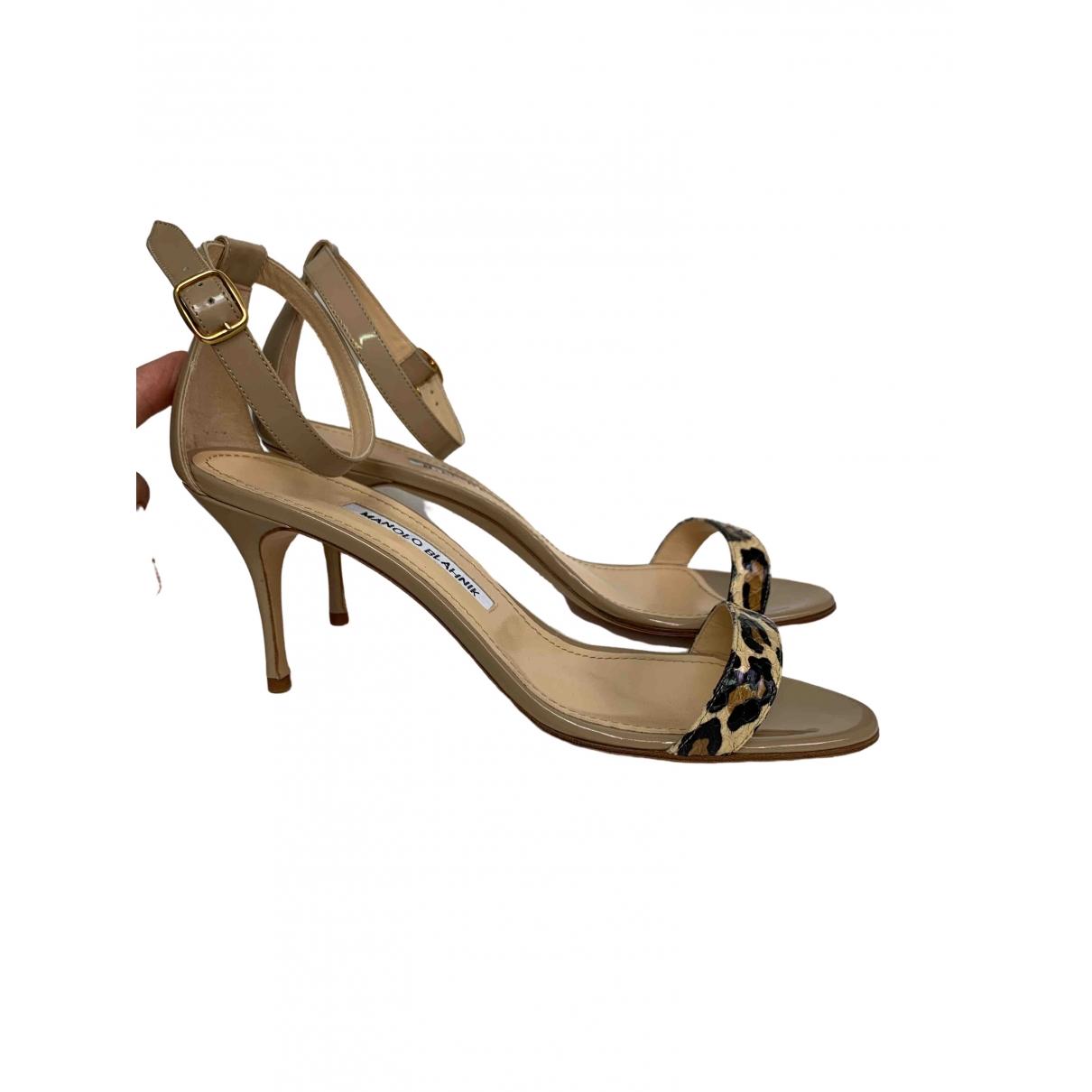 Manolo Blahnik - Sandales   pour femme en cuir - beige
