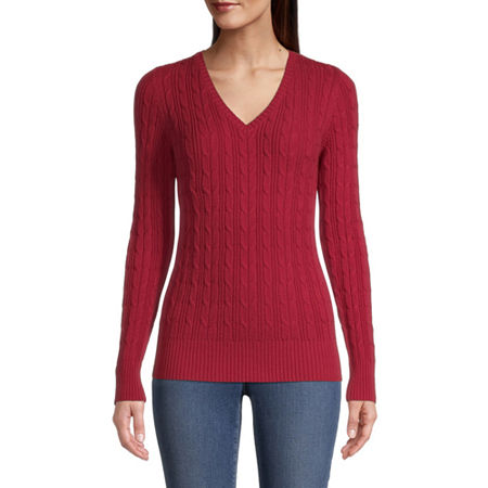 St. John's Bay Cable Womens V Neck Long Sleeve Pullover Sweater, Xx-large , Red