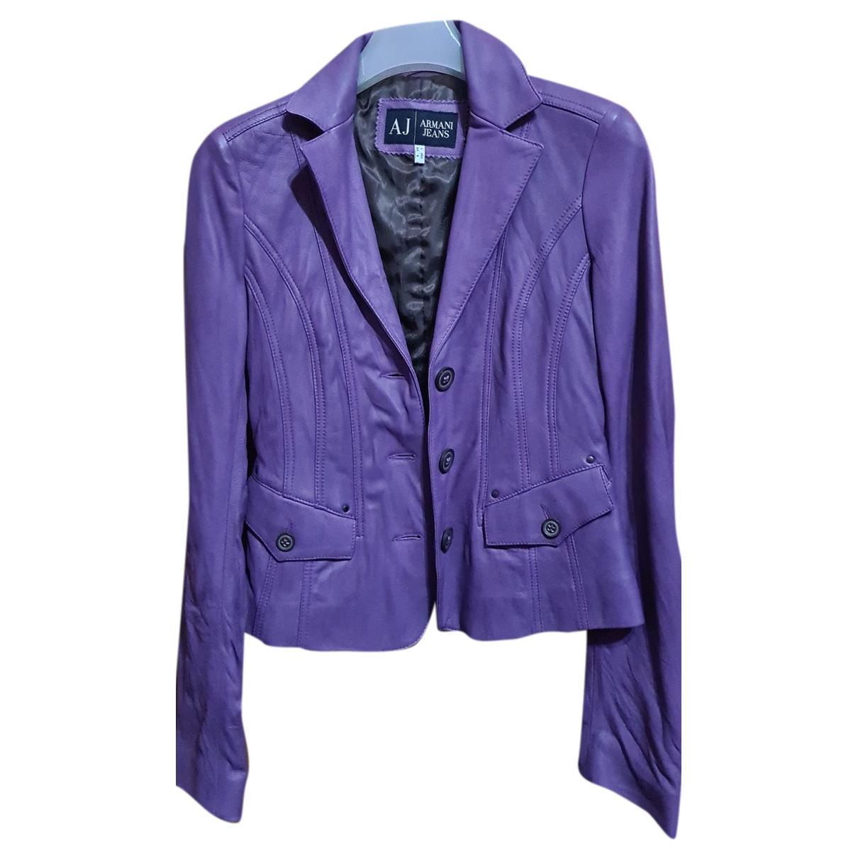 Armani Jean - Veste   pour femme en cuir - violet