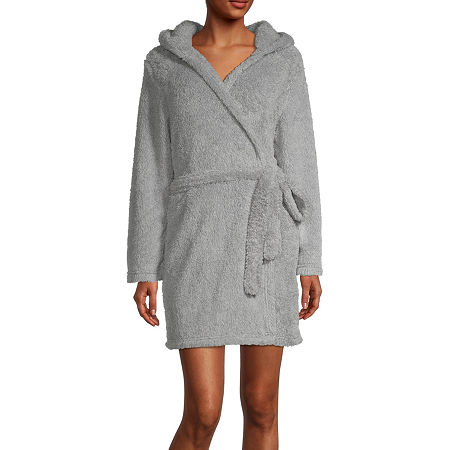 Rene Rofe Womens Fleece Long Sleeve Knee Length Robe, Medium , Gray