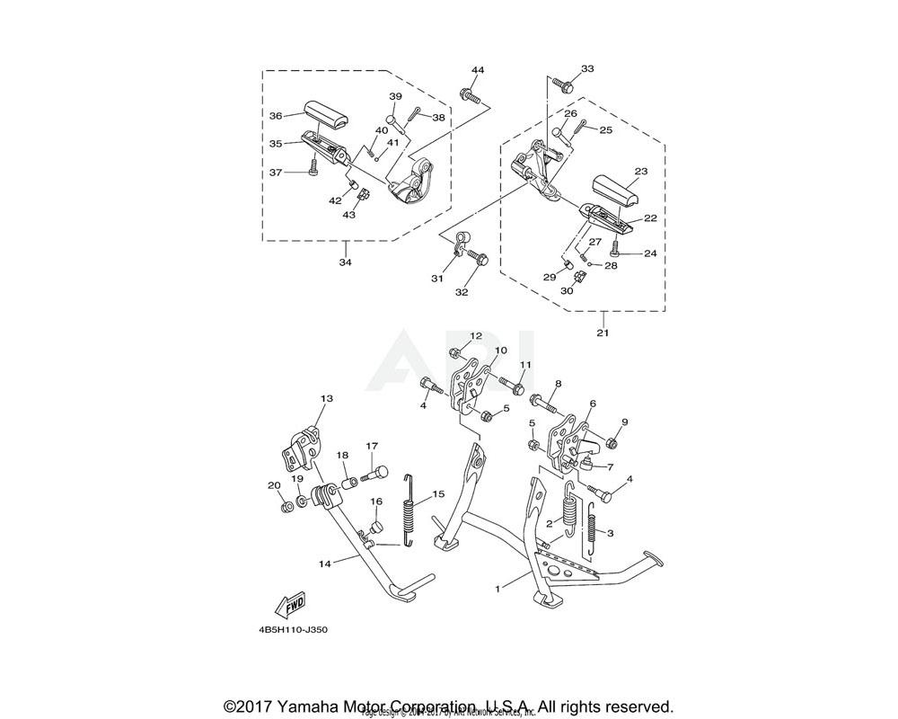 Yamaha OEM 4B5-27440-00-00 REAR FOOTREST ASSY 2