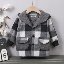 Toddler Boys Buffalo Plaid Flap Pockets Teddy Lined Overcoat