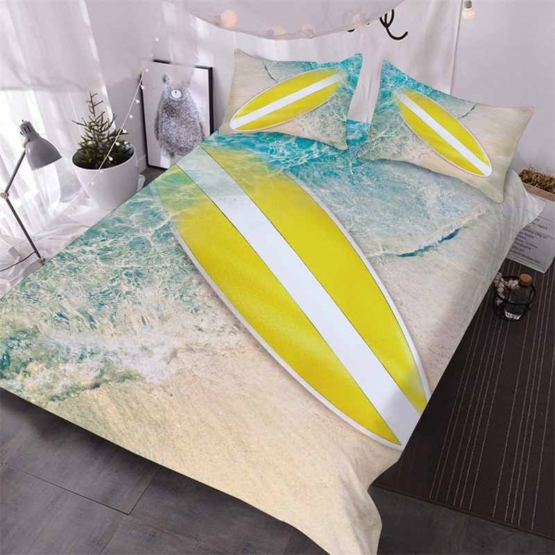 Surfboard and Beach Summer 3D Warm Comforter 3-Piece Soft Comforter Sets with 2 Pillowcases Colorfast Wear-resistant Endurable Skin-friendly All-Seaso