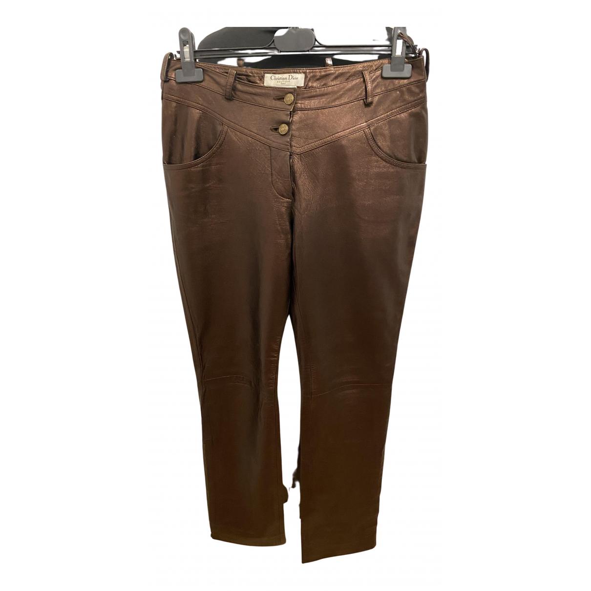 Pantalon recto de Cuero Dior