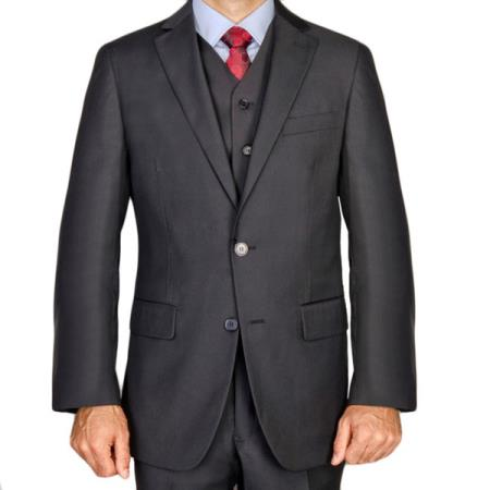 Mens Black 3 Piece Mantoni Brand 100% Wool Super 140's Suit