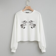 Chinese Dragon Print Sweatshirt