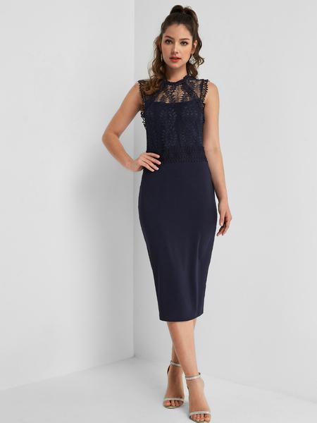 Yoins Navy Lace Insert Slit Hem Midi Dress