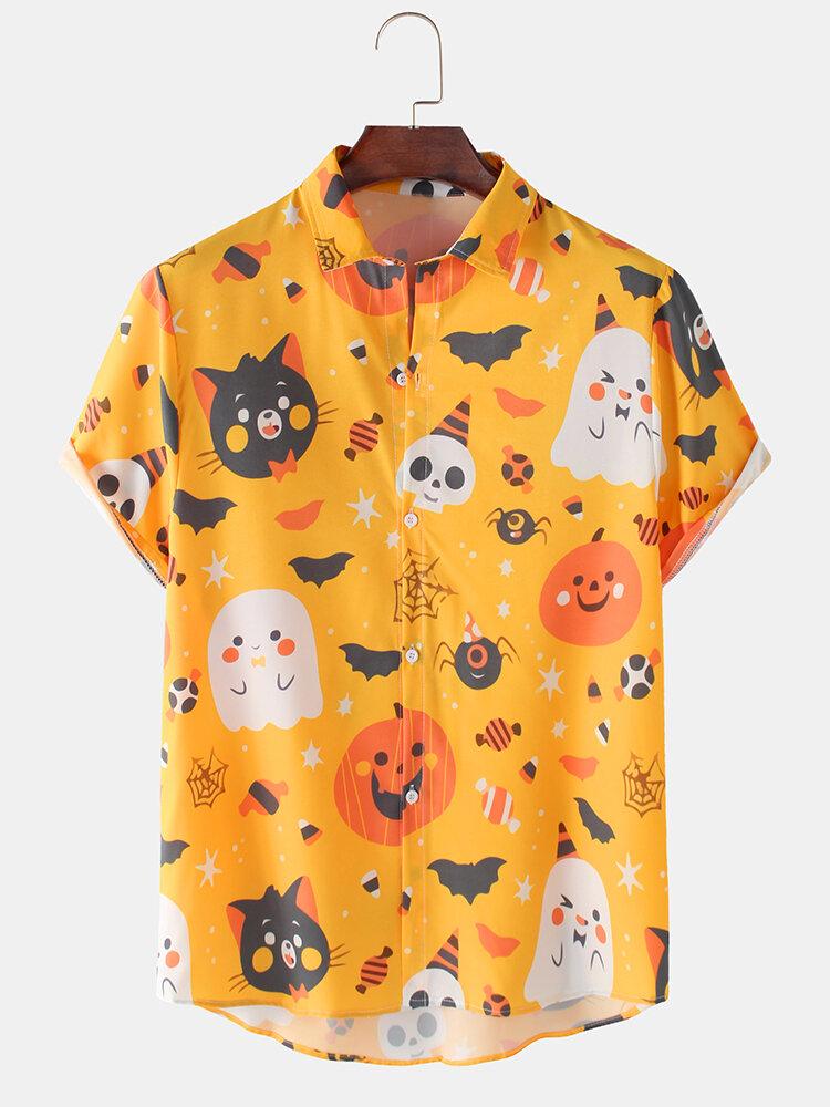 Men Fun Cartoon Halloween Printed Casual Curved Hem Shirt