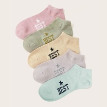 Vielfarbig Buchstaben  Casual  Socken