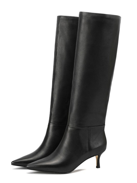 Milanoo Knee High Boots Womens Black PU Pointed Toe Kitten Heel Daily Casual Boots