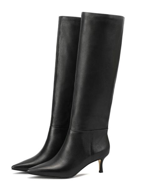 Milanoo Botas altas hasta la rodilla de color negro Botas de punta puntiaguda para mujer Botas hasta la rodilla