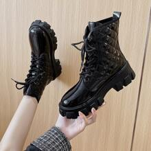 Quilted Lace-up Combat Boots