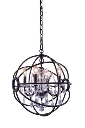 1130D17DB/RC 1130 Geneva Collection Pendent Lamp D:17 H:19.5 Lt:4 Dark Bronze Finish (Royal Cut