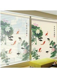 Goldfish Playing between Lotus Printing Polyester Shangri-La Blind & Roller Shades