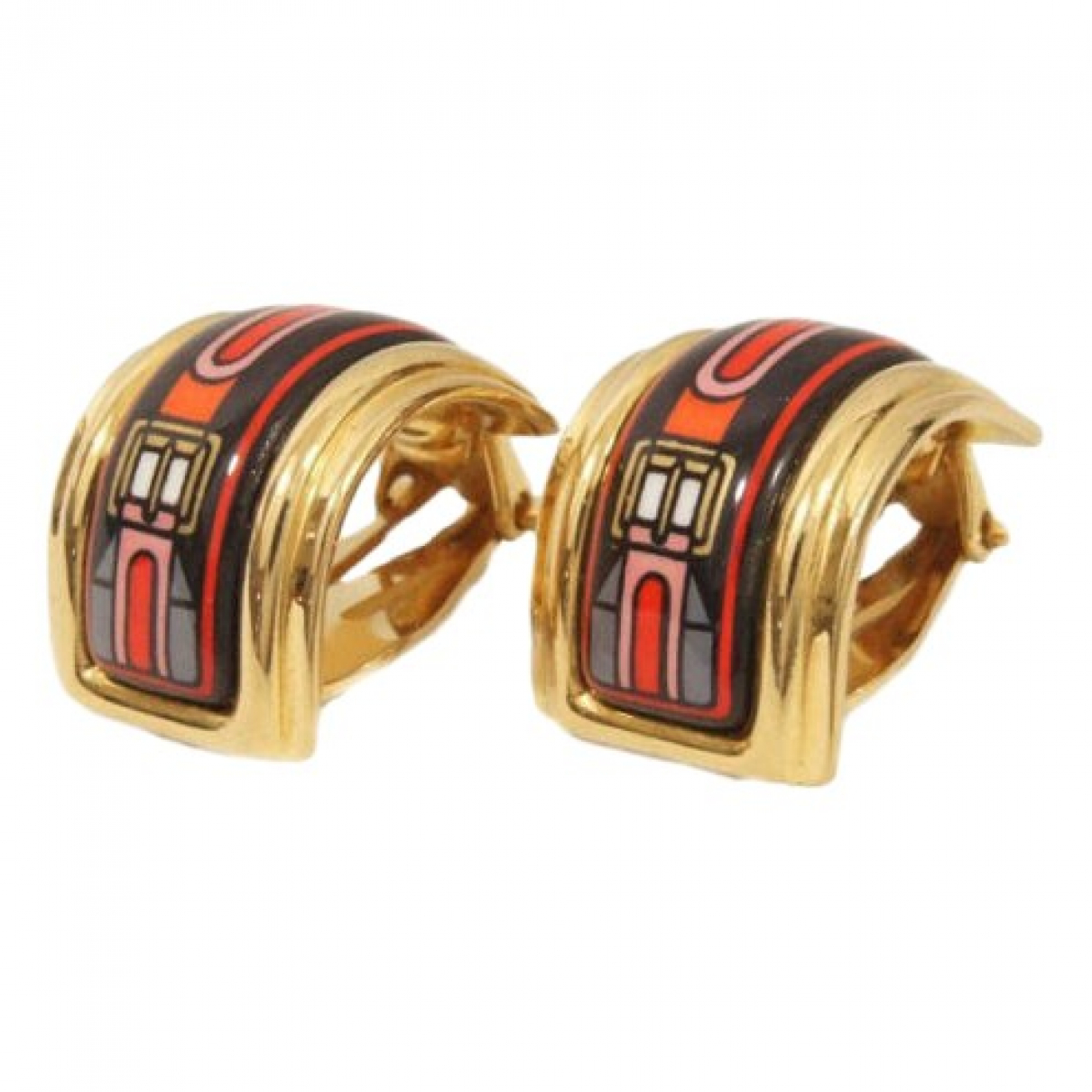Hermes - Boucles doreilles   pour femme en plaque or - rouge