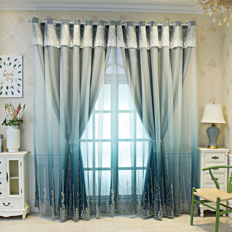 Custom European Decoration Blackout Sheer and Lining Curtain Sets for Living Room Bedroom
