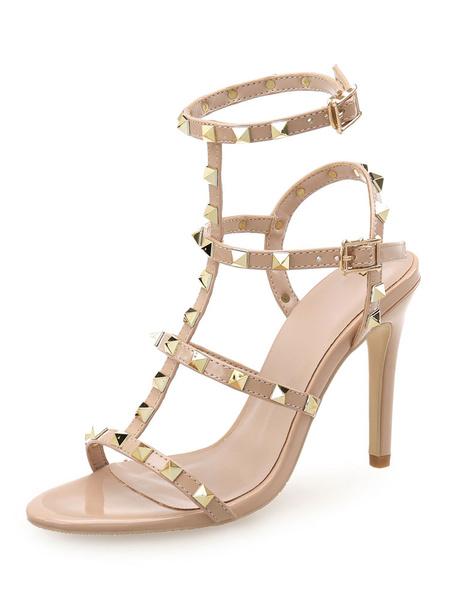 Milanoo High Heel Sandals Womens Rivets T-strap Open Toe Slingback Stiletto Heel Sandals