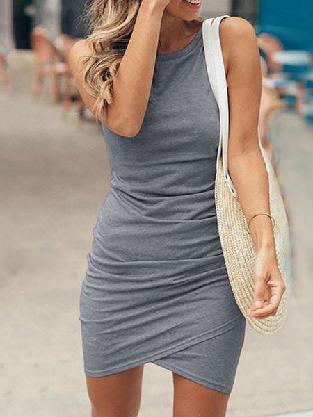 Milanoo Bodycon Dresses Jewel Neck Sexy Sleeveless Pencil Dress