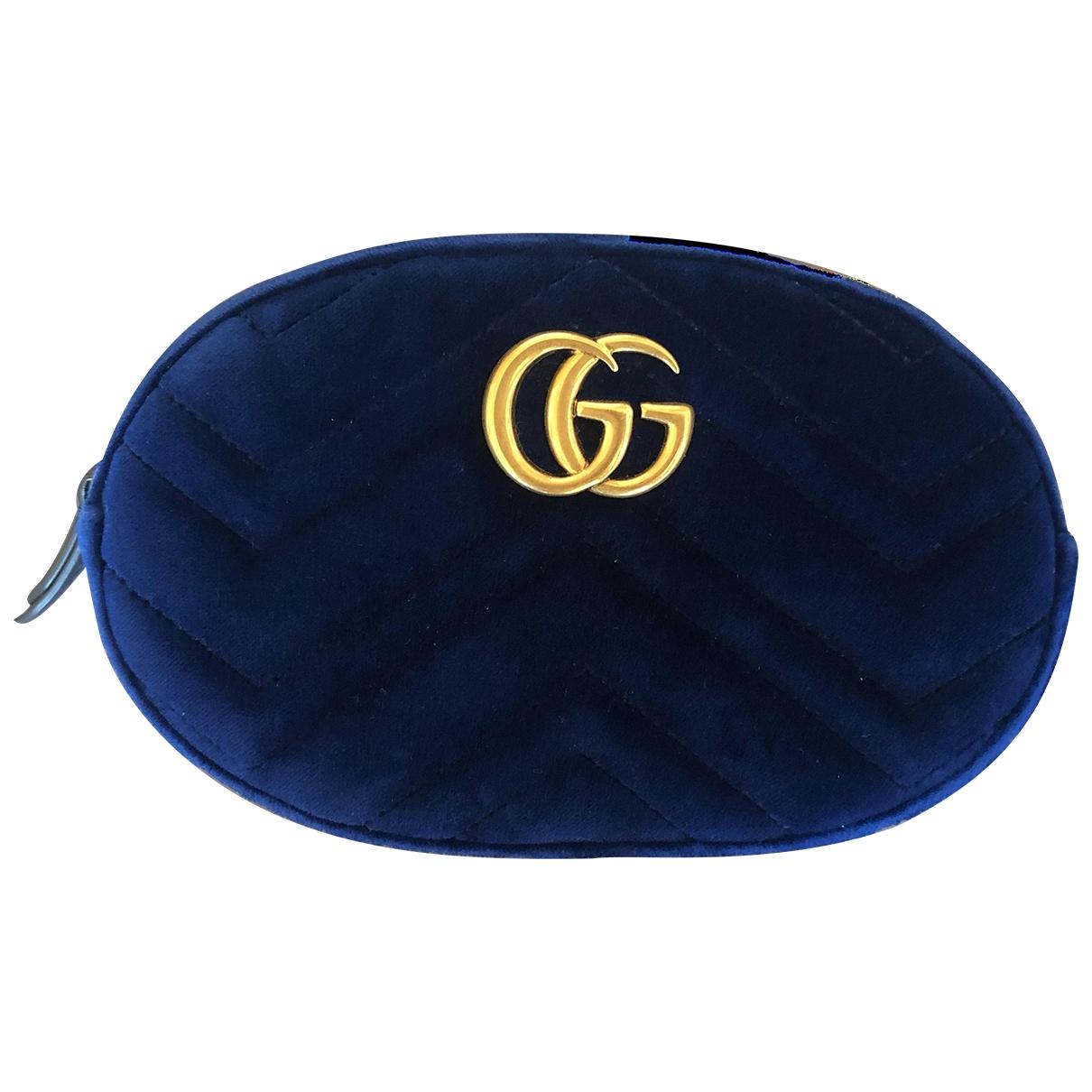 Gucci - Pochette Marmont pour femme en velours - bleu
